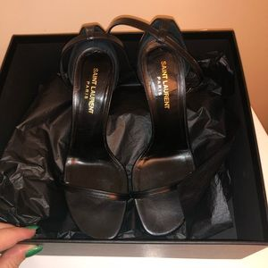 YSL Jane 80 Smooth Black Leather Heel Pump 37 / 7